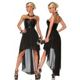 Evening dress with sequin...