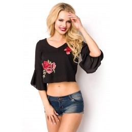 Summer blouse with V cutout...